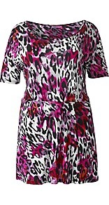 Personalised Fit Leopard Print Short Sleeve Top - waist detail: elasticated waist; length: below the bottom; occasions: casual, evening; style: top; neckline: scoop; fibres: viscose/rayon - 100%; fit: body skimming; predominant colour: multicoloured; sleeve length: short sleeve; sleeve style: standard; pattern type: fabric; pattern size: big & busy; pattern: animal print; texture group: jersey - stretchy/drapey