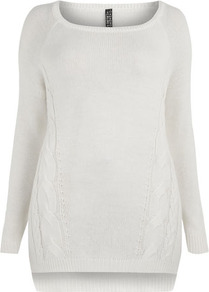 Cream Cable Jumper - neckline: round neck; pattern: plain; length: below the bottom; style: standard; predominant colour: ivory; occasions: casual, work; fibres: acrylic - 100%; fit: standard fit; hip detail: contrast fabric/print detail at hip; back detail: longer hem at back than at front; sleeve length: long sleeve; sleeve style: standard; texture group: knits/crochet; pattern type: knitted - other