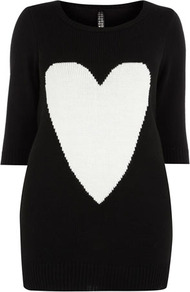 Heart Motif Jumper - neckline: round neck; length: below the bottom; style: standard; predominant colour: black; occasions: casual, work; fibres: acrylic - 100%; fit: slim fit; sleeve length: 3/4 length; sleeve style: standard; texture group: knits/crochet; pattern type: knitted - fine stitch; pattern size: big & light; pattern: patterned/print