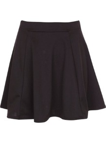 Skater Skirt - length: mid thigh; pattern: plain; fit: body skimming; waist: high rise; predominant colour: black; occasions: casual, evening; style: fit & flare; fibres: polyester/polyamide - stretch; pattern type: fabric; texture group: jersey - stretchy/drapey