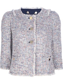 Tweed Blazer Jacket - collar: round collar/collarless; length: cropped; style: boxy; pattern: herringbone/tweed; predominant colour: ivory; secondary colour: navy; occasions: casual, evening; fit: straight cut (boxy); fibres: polyester/polyamide - mix; sleeve length: 3/4 length; sleeve style: standard; collar break: high/illusion of break when open; pattern type: fabric; pattern size: standard; texture group: woven bulky/heavy