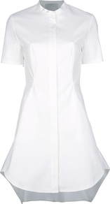 Waterfall Hem Shirt Dress - style: shirt; length: mid thigh; neckline: shirt collar/peter pan/zip with opening; fit: tailored/fitted; pattern: plain; predominant colour: white; occasions: casual, evening, work; fibres: cotton - mix; sleeve length: short sleeve; sleeve style: standard; texture group: cotton feel fabrics