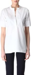 Flared Top - pattern: plain; length: below the bottom; style: tunic; predominant colour: white; occasions: casual, work; neckline: mandarin with v-neck; fibres: cotton - 100%; fit: straight cut; sleeve length: short sleeve; sleeve style: standard; texture group: cotton feel fabrics; pattern type: fabric; pattern size: standard