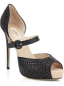 Microstud Mary Jane Pump - predominant colour: black; occasions: evening, occasion, holiday; material: leather; heel height: high; embellishment: jewels; heel: platform; toe: open toe/peeptoe; style: mary janes; finish: plain; pattern: plain