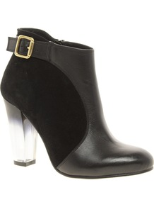 Atomic Leather Ankle Boots With Perspex Heel - predominant colour: black; occasions: casual, evening, work; material: leather; heel height: high; embellishment: buckles; heel: block; toe: round toe; boot length: ankle boot; style: standard; finish: plain; pattern: plain; secondary colour: clear