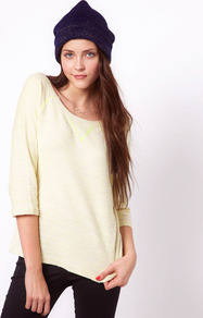 Sweat With Neon Trim - neckline: round neck; pattern: plain; style: sweat top; predominant colour: primrose yellow; occasions: casual; length: standard; fibres: cotton - mix; fit: loose; sleeve length: 3/4 length; sleeve style: standard; pattern type: fabric; texture group: jersey - stretchy/drapey