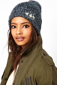 Mixed Knit Boyfriend Beanie With Embellished Turn Up - predominant colour: charcoal; occasions: casual; type of pattern: standard; style: beanie; size: standard; material: knits; pattern: plain; embellishment: jewels