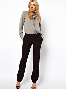 Trousers In Straight Leg - length: standard; pattern: plain; waist: mid/regular rise; predominant colour: black; occasions: work; fibres: polyester/polyamide - stretch; fit: straight leg; pattern type: fabric; texture group: other - light to midweight; style: standard