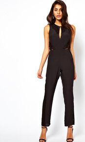 Jumpsuit With Lace Inserts - neckline: round neck; fit: tailored/fitted; pattern: plain; sleeve style: sleeveless; predominant colour: black; occasions: evening; length: ankle length; fibres: polyester/polyamide - mix; texture group: crepes; style: jumpsuit; pattern type: fabric
