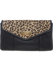 Leopard Ponyskin Leather Clutch - secondary colour: silver; predominant colour: black; occasions: casual, evening, occasion; type of pattern: light; style: clutch; length: hand carry; size: standard; material: faux leather; pattern: animal print; finish: plain