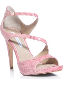 Jujette Sandals - predominant colour: blush; occasions: evening, occasion; material: leather; heel height: high; ankle detail: ankle strap; heel: platform; toe: open toe/peeptoe; style: strappy; finish: plain; pattern: animal print