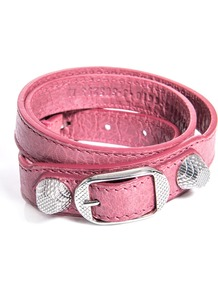 Studded Leather Bracelet - secondary colour: silver; occasions: casual; style: buckle; size: standard; material: leather; finish: plain; embellishment: studs; predominant colour: dusky pink