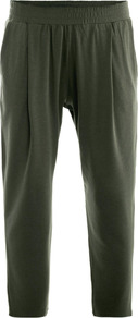 Dramma Trousers - pattern: plain; waist detail: elasticated waist; style: peg leg; waist: mid/regular rise; predominant colour: dark green; occasions: casual, evening, holiday; length: ankle length; fibres: cotton - stretch; fit: tapered; pattern type: fabric; texture group: jersey - stretchy/drapey