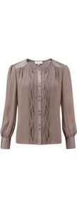 Pebble Detail Front Blouse - neckline: round neck; sleeve style: bell sleeve; pattern: plain; style: blouse; bust detail: ruching/gathering/draping/layers/pintuck pleats at bust; predominant colour: taupe; occasions: casual; length: standard; fibres: polyester/polyamide - 100%; fit: straight cut; shoulder detail: added shoulder detail; sleeve length: long sleeve; texture group: silky - light; pattern type: fabric