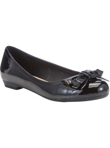 Sensitive Sole Patent Ballerina Pumps - predominant colour: black; occasions: casual, evening, work, holiday; material: faux leather; heel height: flat; toe: round toe; style: ballerinas / pumps; finish: plain; pattern: plain; embellishment: bow