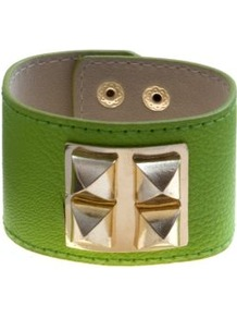 Bright Green Pyramid Stud Square Cuff - predominant colour: lime; secondary colour: gold; occasions: casual, evening, holiday; style: cuff; size: large/oversized; finish: plain; material: faux leather; embellishment: studs