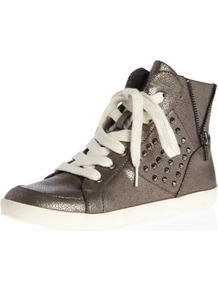 Pewter Metallic Stud Hi Tops - secondary colour: white; predominant colour: bronze; occasions: casual; material: faux leather; heel height: flat; embellishment: studs; toe: round toe; style: trainers; trends: metallics; finish: metallic; pattern: plain