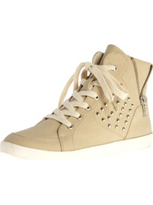 Stone Stud Hi Tops - predominant colour: stone; occasions: casual; material: faux leather; heel height: flat; embellishment: studs; heel: standard; toe: round toe; boot length: ankle boot; style: high top; finish: plain; pattern: plain