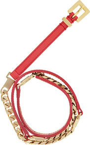Benelle Leather And Chain Mix Belt - predominant colour: bright orange; secondary colour: gold; occasions: casual, evening, work, holiday; type of pattern: light; style: chainlink; size: skinny; worn on: waist; material: chain/metal; pattern: plain; finish: metallic; embellishment: chain/metal