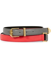 Alexa Diamond Hardware Double Wrap Belt - predominant colour: true red; secondary colour: mid grey; occasions: casual, evening, work, holiday; type of pattern: light; style: classic; size: standard; worn on: waist; material: leather; finish: plain; pattern: colourblock