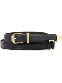 Alexa Diamond Hardware Double Wrap Belt - predominant colour: black; occasions: casual, evening, work; type of pattern: standard; style: classic; size: standard; worn on: waist; material: leather; pattern: plain; finish: plain