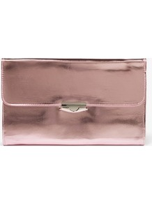 Patent Leatherette Clutch - predominant colour: blush; occasions: casual, evening, occasion; type of pattern: standard; style: clutch; length: hand carry; size: standard; material: faux leather; pattern: plain; trends: metallics; finish: patent