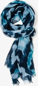 Southwestern Scarf - predominant colour: pale blue; secondary colour: navy; occasions: casual, work; type of pattern: standard; style: regular; size: standard; material: tulle/sheer; pattern: patterned/print