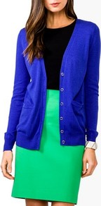 Essential V Neck Cardigan - neckline: plunge; pattern: plain; length: below the bottom; predominant colour: royal blue; occasions: casual; style: standard; fibres: cotton - mix; fit: standard fit; sleeve length: long sleeve; sleeve style: standard; texture group: knits/crochet; pattern type: knitted - fine stitch