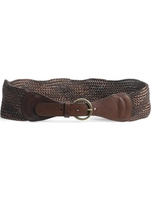 Woven Silk And Wool Hip Belt - predominant colour: chocolate brown; occasions: casual; style: plaited/woven; size: wide; worn on: waist; material: fabric; pattern: plain; finish: plain