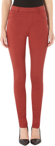 Eden Brick Red Ultra Soft Jegging - length: standard; pattern: plain; waist: high rise; style: jeggings; pocket detail: traditional 5 pocket; predominant colour: true red; occasions: casual, evening; fibres: cotton - stretch; texture group: denim; pattern type: fabric