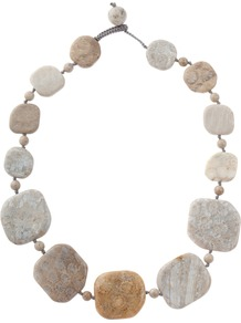 Jane Large Flat Chrysanthemum Bead Statement Necklace - secondary colour: camel; predominant colour: stone; occasions: casual, evening, work, occasion, holiday; style: choker/collar; length: short; size: standard; material: fabric; finish: plain; embellishment: beading