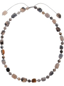Kimberly Agate Necklace, Multi - secondary colour: charcoal; occasions: casual, work, holiday; predominant colour: multicoloured; style: standard; length: short; size: small; material: fabric; finish: plain; embellishment: beading