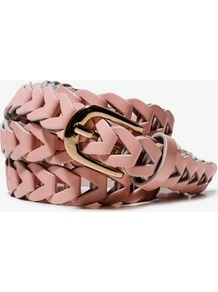 Woven Patent Waist Belt - predominant colour: blush; occasions: casual; style: plaited/woven; size: standard; worn on: waist; material: faux leather; pattern: plain; finish: patent