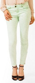 Colored Acid Wash Skinny Jeans - style: skinny leg; pattern: plain; pocket detail: traditional 5 pocket; waist: mid/regular rise; predominant colour: pistachio; occasions: casual, evening, holiday; length: ankle length; fibres: cotton - stretch; texture group: denim; pattern type: fabric