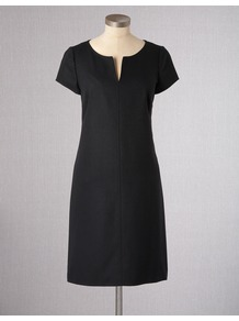 Farringdon Wool Dress - style: shift; neckline: v-neck; pattern: plain; predominant colour: black; occasions: work; length: just above the knee; fit: straight cut; fibres: wool - stretch; sleeve length: short sleeve; sleeve style: standard; pattern type: fabric; texture group: other - light to midweight