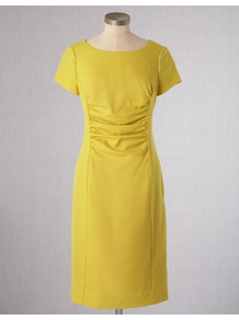 Walbrook Wool Dress - style: shift; neckline: round neck; fit: tailored/fitted; pattern: plain; waist detail: fitted waist; bust detail: ruching/gathering/draping/layers/pintuck pleats at bust; predominant colour: yellow; occasions: evening, work, occasion; length: just above the knee; fibres: wool - mix; sleeve length: short sleeve; sleeve style: standard; pattern type: fabric; texture group: jersey - stretchy/drapey