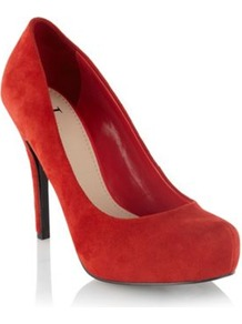 Red Suede High Heel Platform Court Shoes - predominant colour: true red; occasions: evening, work, occasion; material: suede; heel height: high; heel: stiletto; toe: round toe; style: courts; finish: plain; pattern: plain