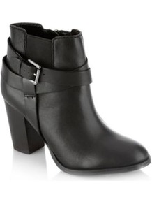 Josie Black Strapped Mid Ankle Boots - predominant colour: black; occasions: casual, evening, work; material: faux leather; heel height: high; embellishment: buckles; heel: standard; toe: round toe; boot length: ankle boot; style: standard; finish: plain; pattern: plain