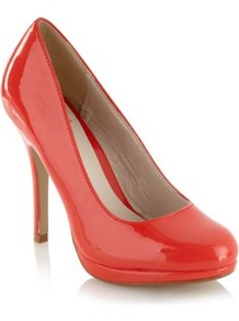 Bright Red Patent High Heel Court Shoes - predominant colour: true red; occasions: evening, work, occasion; material: leather; heel height: high; heel: platform; toe: round toe; style: courts; finish: patent; pattern: plain
