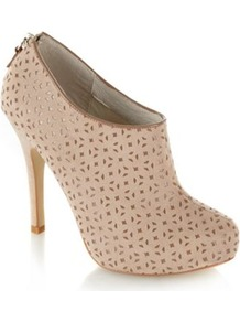 Natural Cut Out Faux Suede Shoe Boots - predominant colour: nude; occasions: casual, evening; material: fabric; heel height: high; heel: stiletto; toe: round toe; boot length: shoe boot; style: standard; finish: plain; pattern: plain