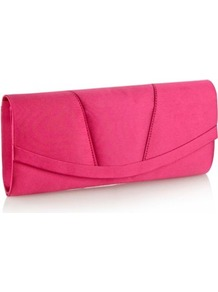 Bright Pink Curved Panel Clutch Bag - predominant colour: hot pink; occasions: evening, occasion; style: clutch; length: hand carry; size: small; material: satin; pattern: plain; finish: plain