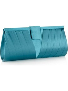 Turquoise Pleat Corner Clutch Bag - predominant colour: turquoise; occasions: evening, occasion; style: clutch; length: hand carry; size: small; material: satin; embellishment: pleated; pattern: plain; finish: plain
