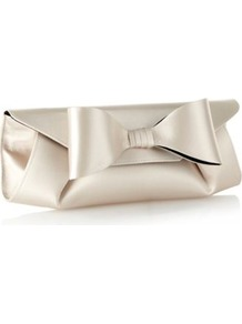 Designer Light Gold Oversized Bow Clutch Bag - predominant colour: champagne; occasions: evening, occasion; style: clutch; length: hand carry; size: small; material: satin; pattern: plain; finish: plain; embellishment: bow