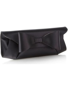 Designer Black Oversized Bow Clutch Bag - predominant colour: black; occasions: evening, occasion; style: clutch; length: hand carry; size: small; material: satin; pattern: plain; finish: plain; embellishment: bow