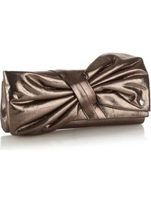 Metallic Bow Clutch Bag - predominant colour: bronze; occasions: evening, occasion; style: clutch; length: hand carry; size: small; material: fabric; pattern: plain; trends: metallics; finish: metallic; embellishment: bow