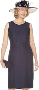 Monique Shift Dress - style: shift; length: below the knee; neckline: round neck; fit: tailored/fitted; pattern: plain; sleeve style: sleeveless; waist detail: embellishment at waist/feature waistband; predominant colour: navy; occasions: evening, work, occasion; fibres: polyester/polyamide - mix; sleeve length: sleeveless; texture group: structured shiny - satin/tafetta/silk etc.; trends: glamorous day shifts; pattern type: fabric; pattern size: standard