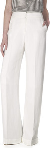 Luxury Viscose Tailoring Trousers - pattern: plain; waist: high rise; length: extra long; predominant colour: ivory; occasions: casual, evening, occasion; jeans & bottoms detail: turn ups; fit: wide leg; pattern type: fabric; texture group: woven light midweight; style: standard; fibres: viscose/rayon - mix