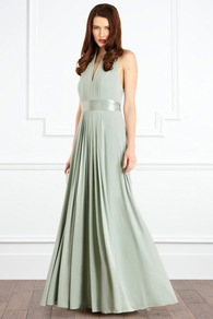 Goddess Maxi Dress - style: ballgown; neckline: low v-neck; fit: fitted at waist; pattern: plain; sleeve style: sleeveless; back detail: low cut/open back; waist detail: belted waist/tie at waist/drawstring; predominant colour: pistachio; occasions: evening, occasion; length: floor length; fibres: polyester/polyamide - stretch; hip detail: soft pleats at hip/draping at hip/flared at hip; sleeve length: sleeveless; pattern type: fabric; pattern size: standard; texture group: other - light to midweight