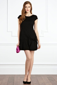 Florencia Bow Dress - length: mid thigh; neckline: round neck; sleeve style: capped; fit: tailored/fitted; pattern: plain; style: drop waist; waist detail: drop waist; predominant colour: black; occasions: evening, occasion; fibres: polyester/polyamide - 100%; hip detail: sculpting darts/pleats/seams at hip; sleeve length: short sleeve; pattern type: fabric; pattern size: standard; texture group: other - light to midweight