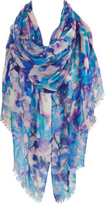 Milan Print Wrap - predominant colour: turquoise; occasions: casual, evening, work, holiday; type of pattern: heavy; style: pashmina; size: large; material: fabric; embellishment: fringing; pattern: florals, patterned/print; trends: statement prints